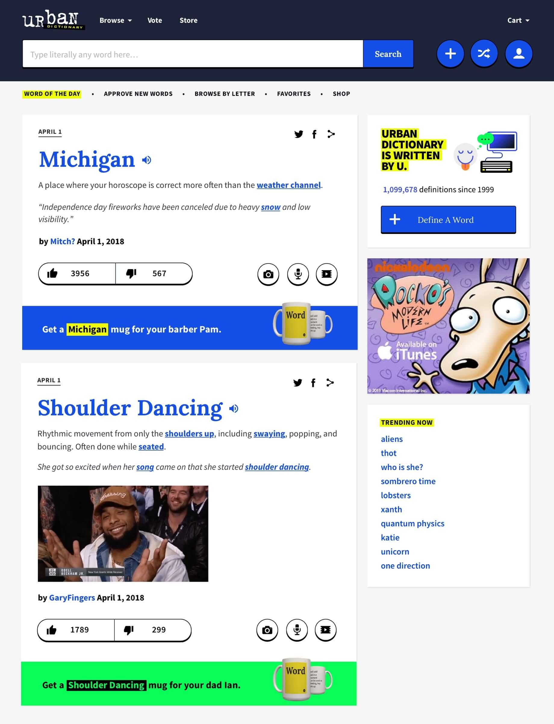 Urban Dictionary Homepage