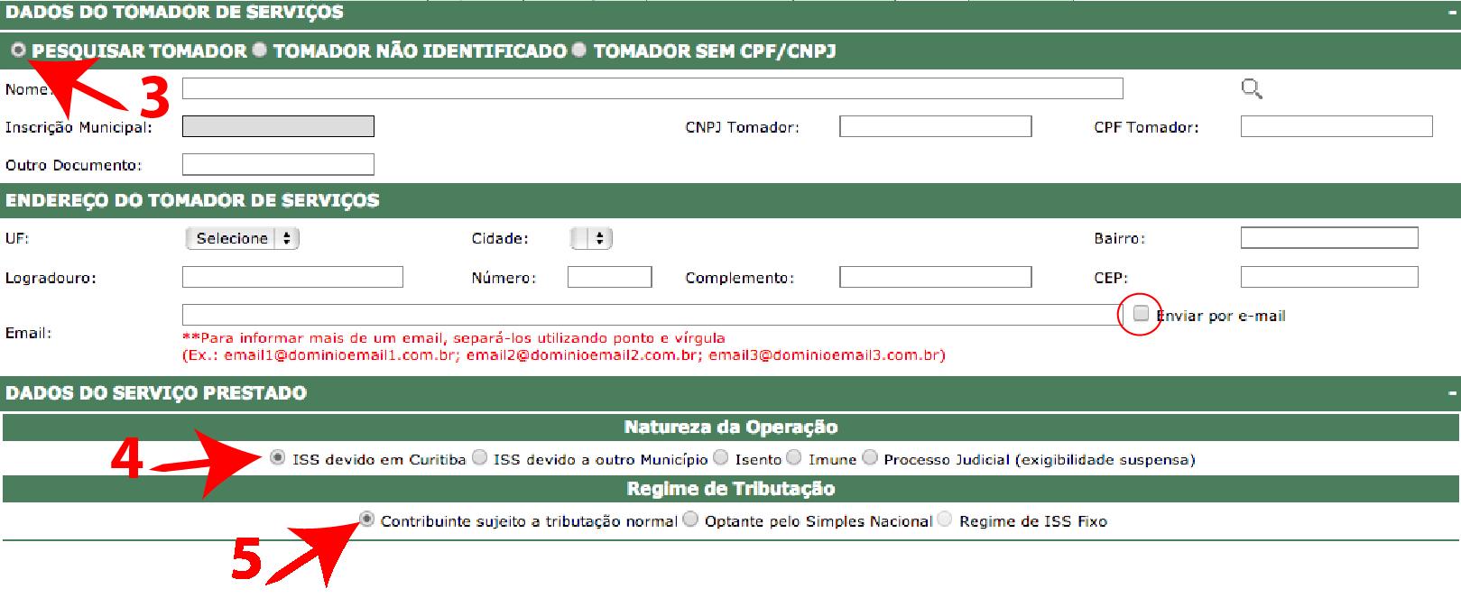 Passos 2, 3, 4 e 5 de Como Emitir Boa Nota Fiscal - ISS Curitiba no simples nacional
