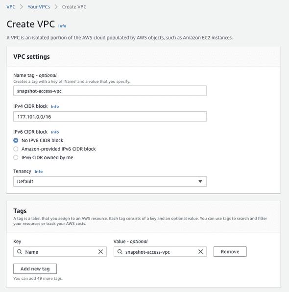 Screenshot of creating a VPC