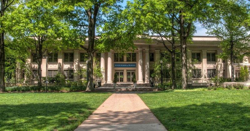 An entrance to American University's Kogod School of Business lined with a grassy quad and trees