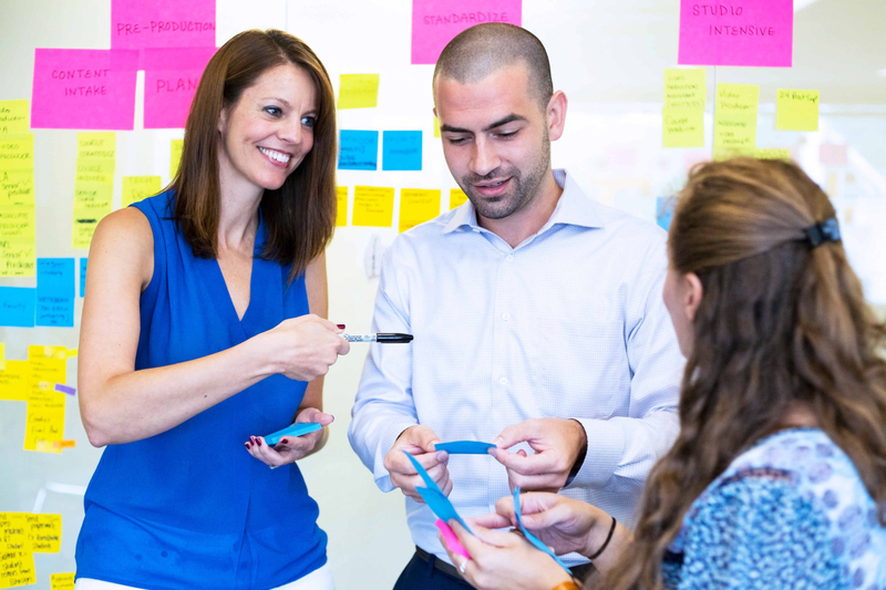 A team maps out a project using multi-colored sticky notes placed on a wall