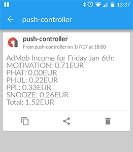 Google AdSense Report PushOver