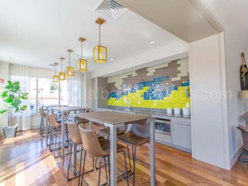 Workspace Virtual Background for Zoom in shared kitchen with tall tables and stools