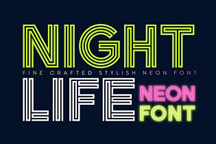 Nightlife Decorative Neon Font images/promo_Nightlife_1.jpg