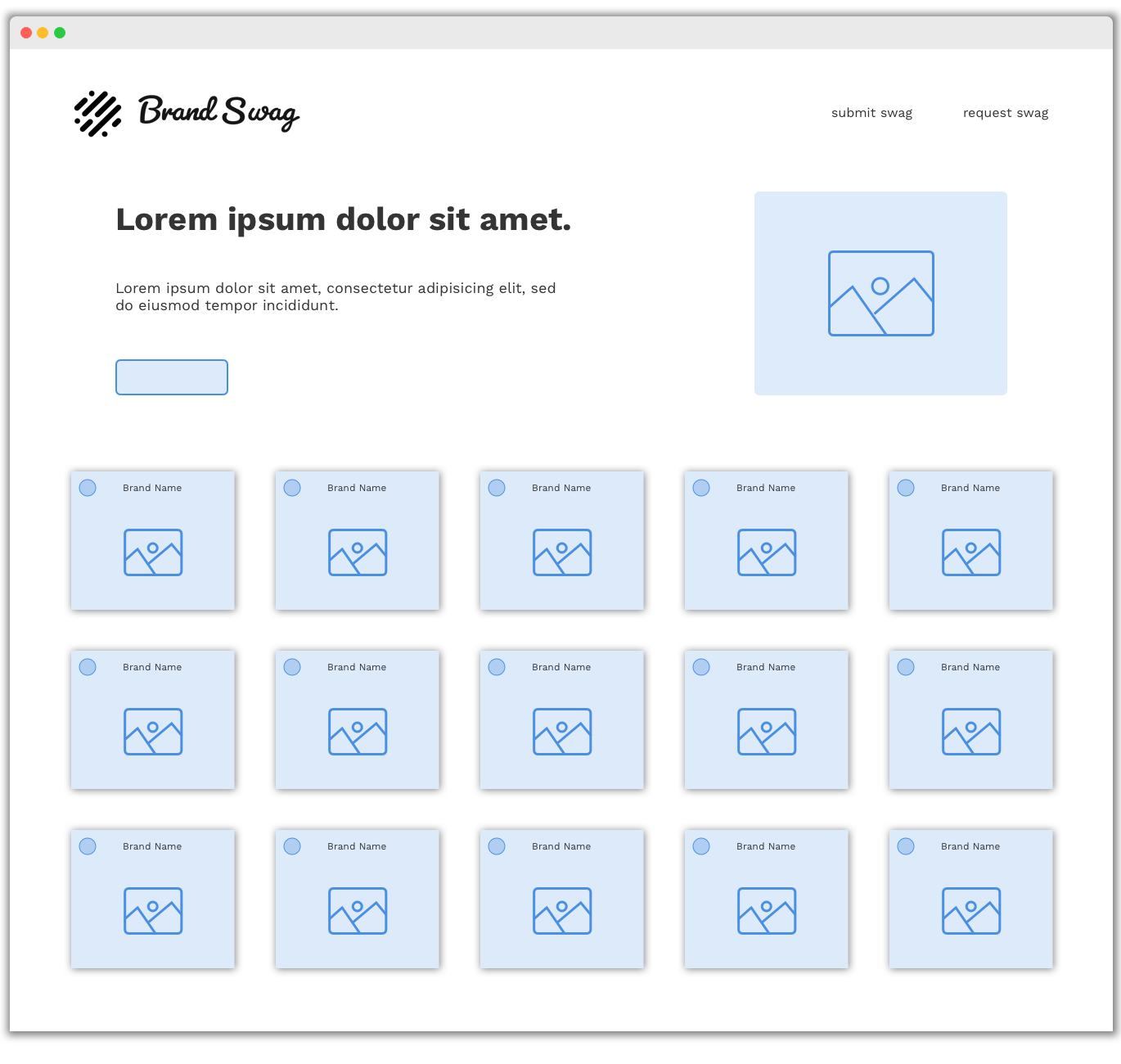 Brand Swag Homepage Wireframe