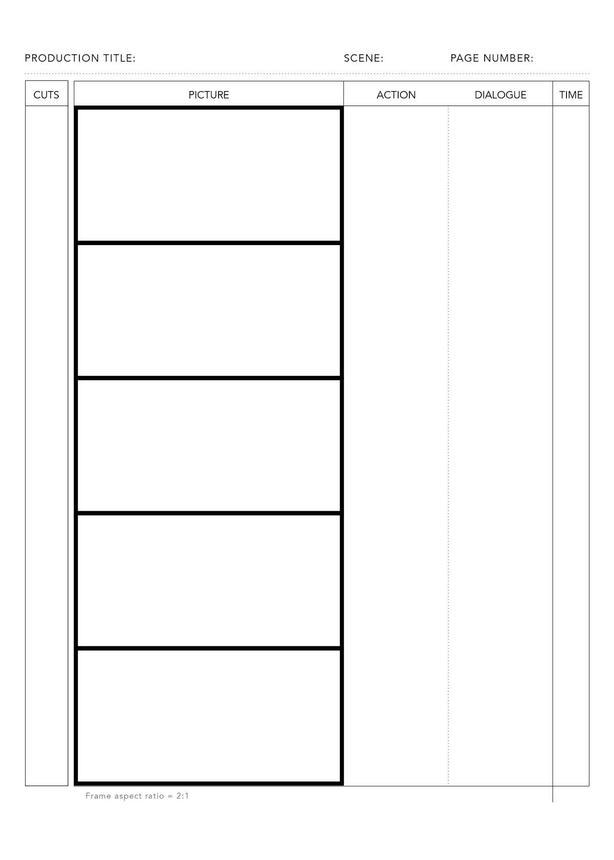 Free PDF Anime storyboard template for 2:1 aspect ratio on DIN A4 vertical for print