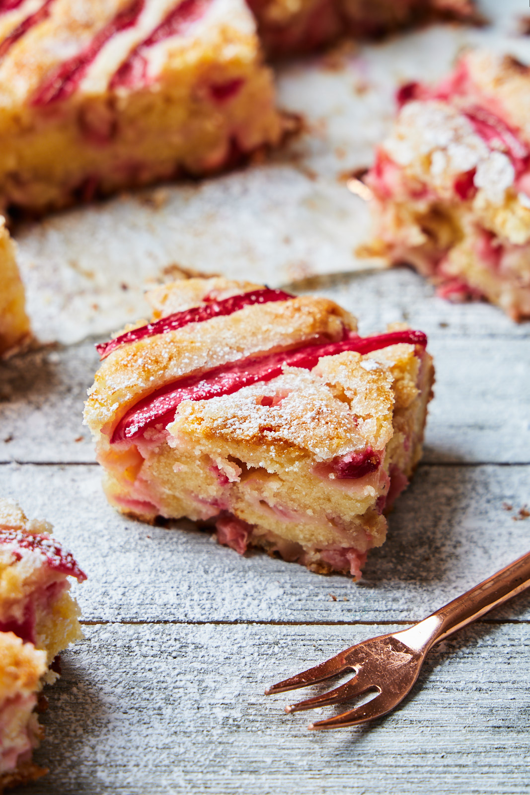A single slice of Almond Rhubarb Cake