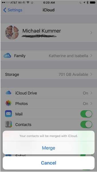 iCloud Contact Merge