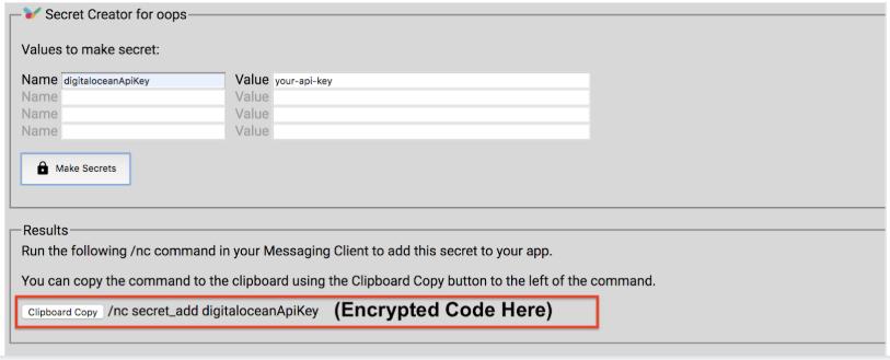 DigitalOcean bill displayed in Slack by getting the encrypted code in the Nimbell Commander secret Creator