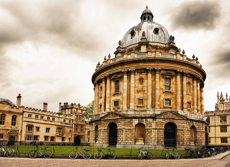 An angled view of the dome in Radcliffe Square at Oxford University on a cloudy day