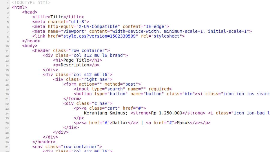 Hasil versioning css