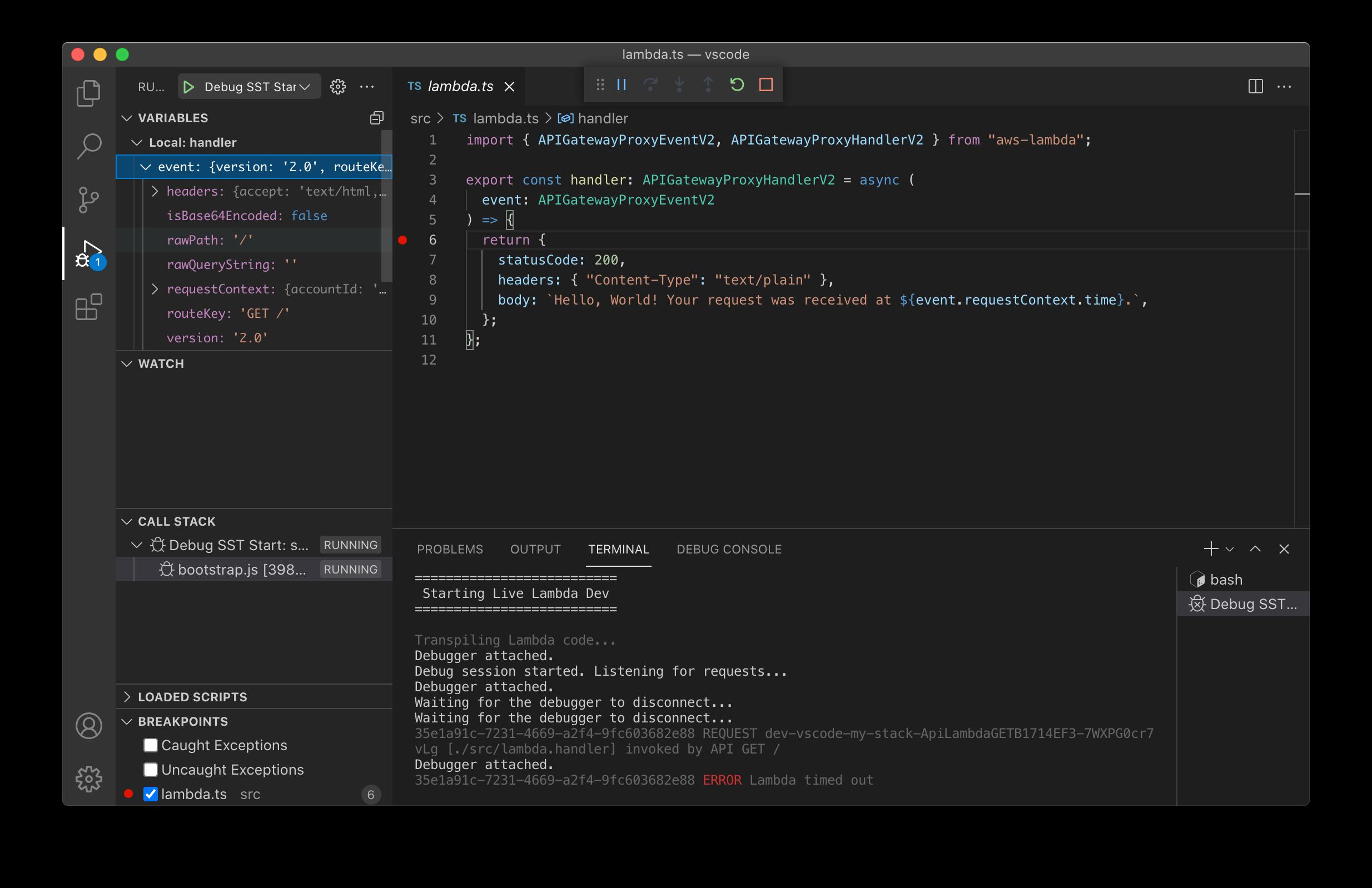 Hitting a breakpoint in a Lambda function in VS Code