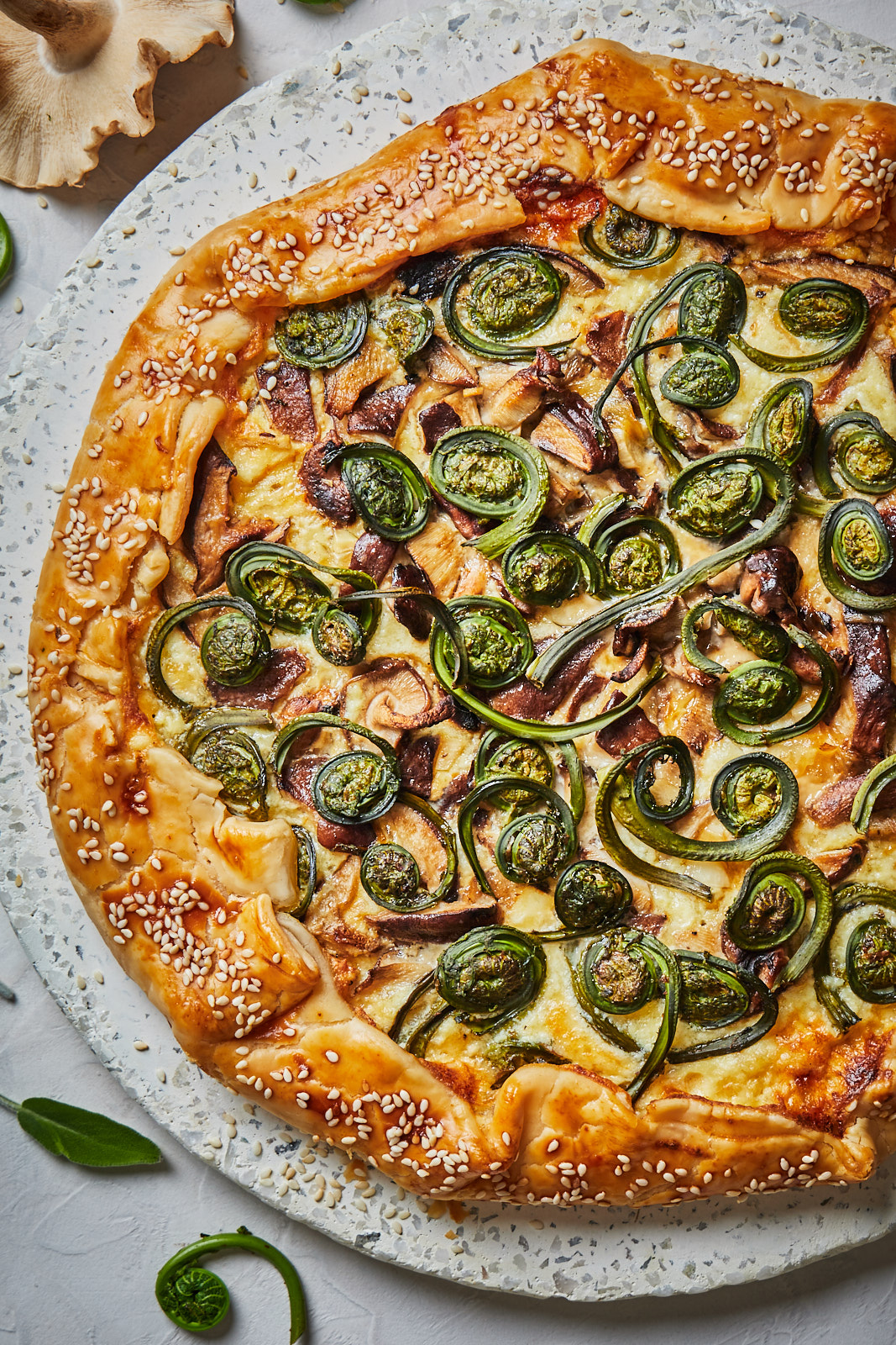 Fiddlehead and Mushroom Galette ready to eat