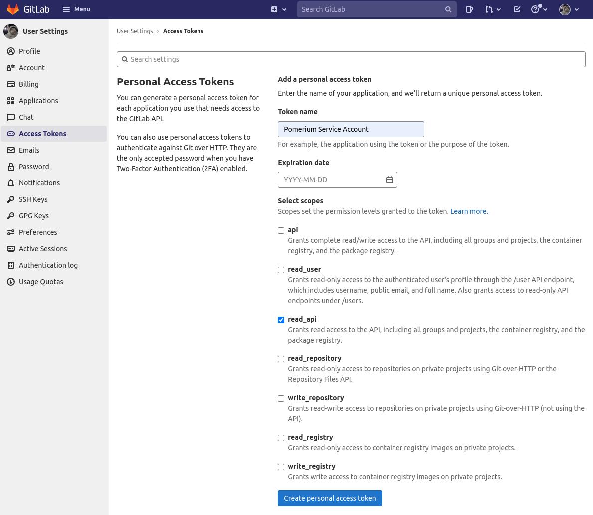 Gitlab Personal Access Token