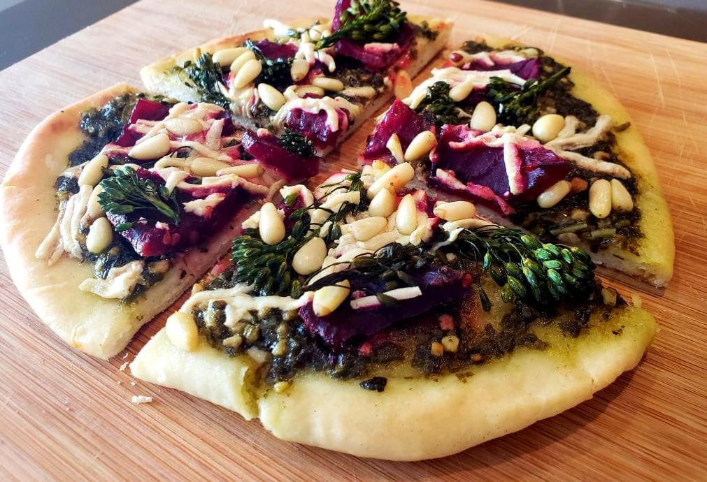Flatbread with beets, vegan cheese, broccolini