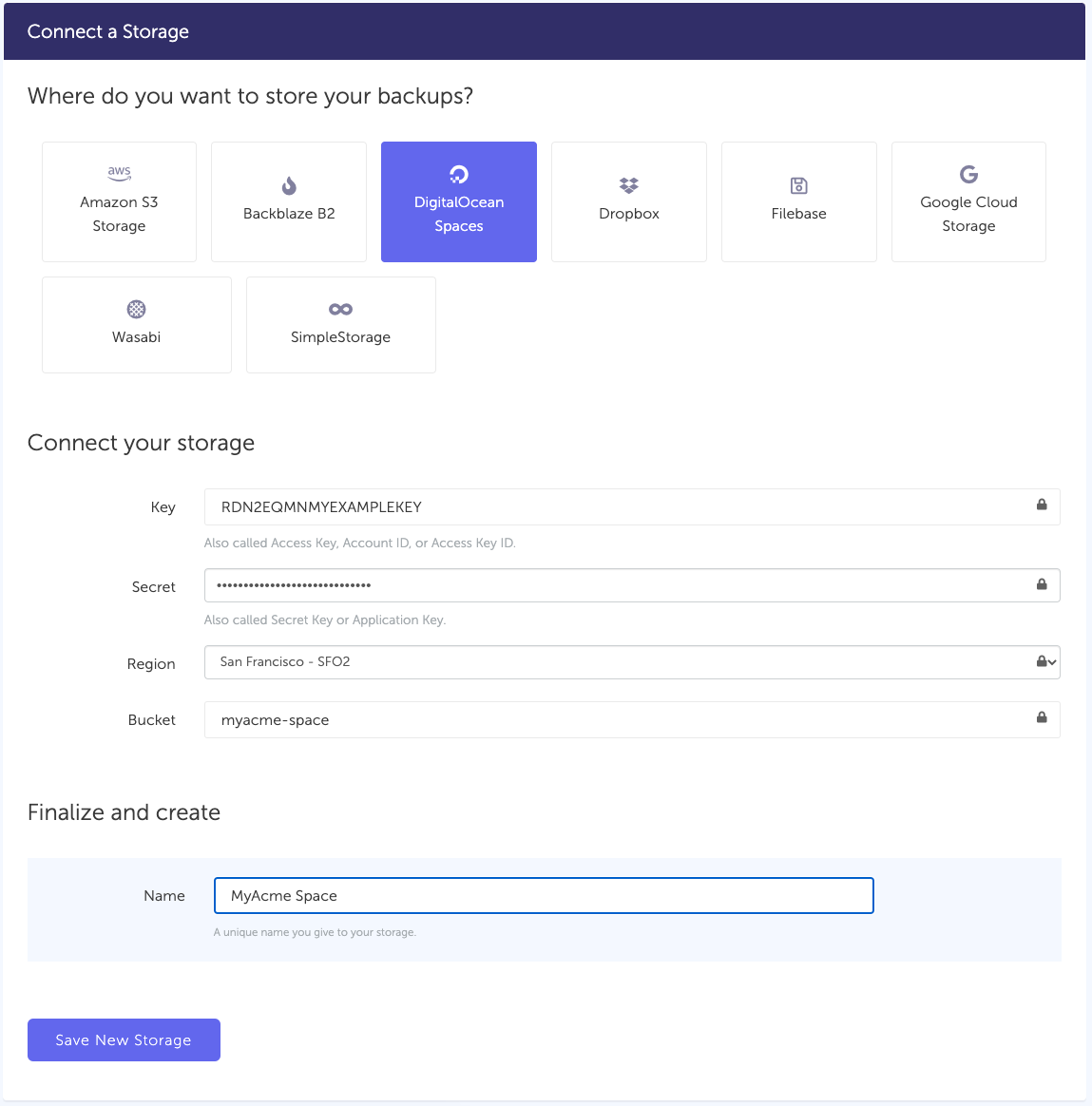 Connect  DigitalOcean storage to SimpleBackups
