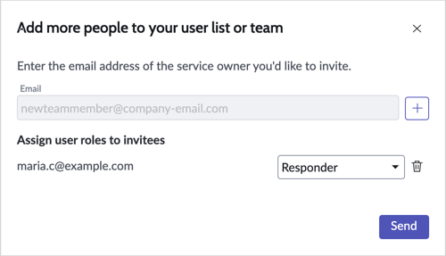 The Responder role is added to the invited user.