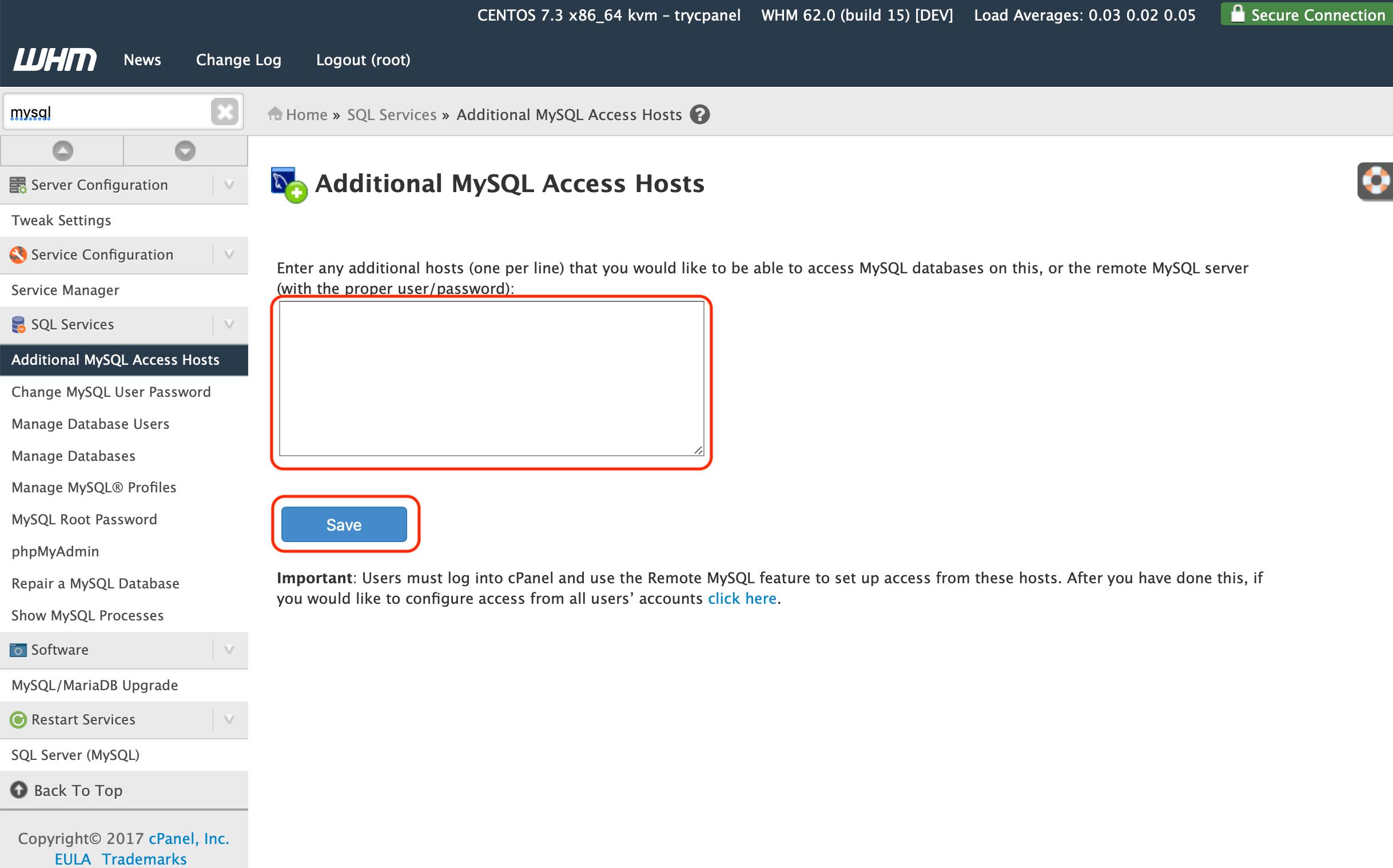 Allow Remote MySQL Connections in WHM