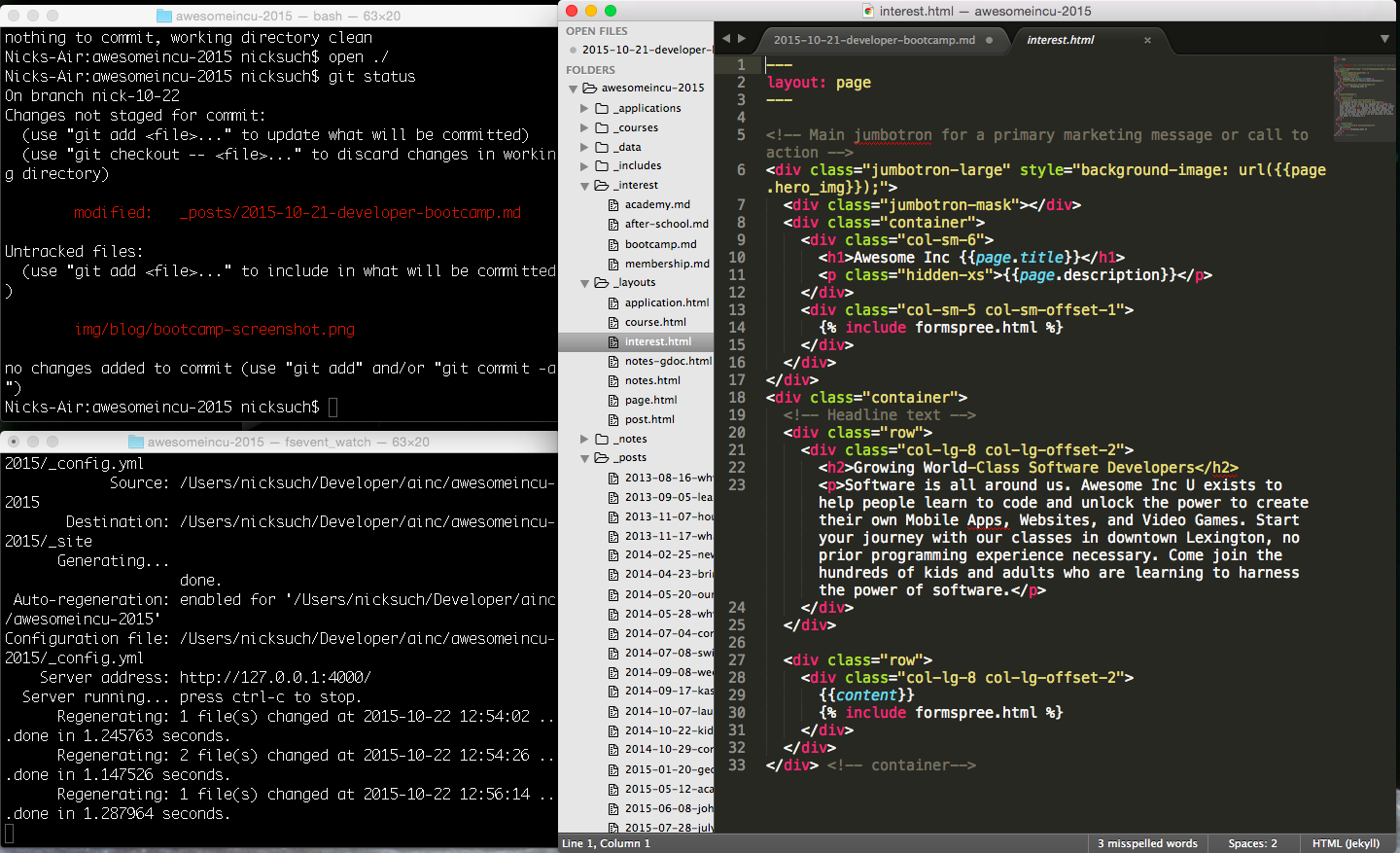 Terminal and Sublime Text, tools of the web development trade