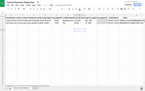 A spreadsheet for recording research answers