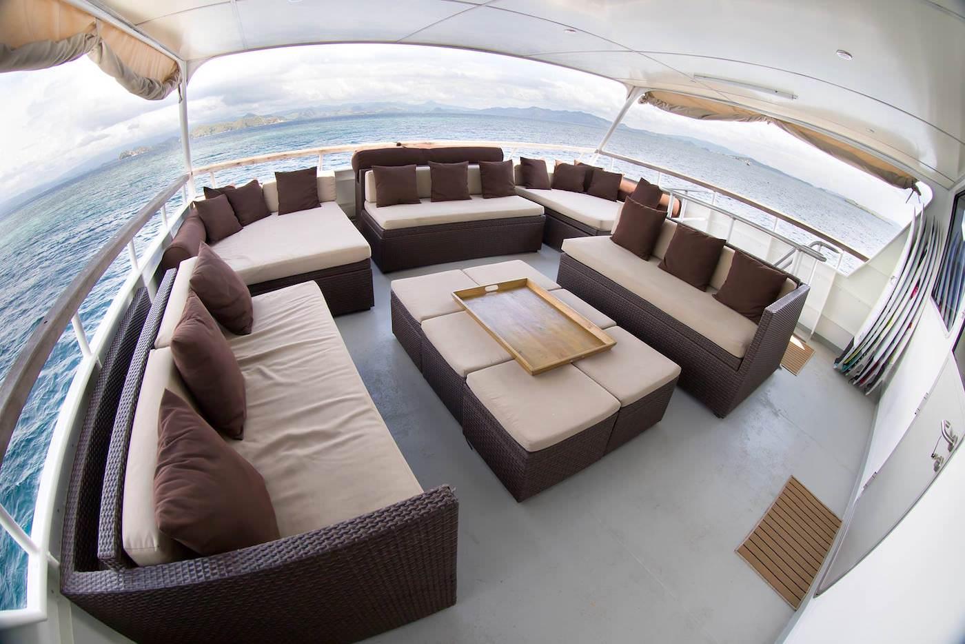 Sibon Jaya luxury surf catamaran charter boat Mentawai and beyond outside lounge