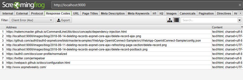 Client errors in SEO Spider