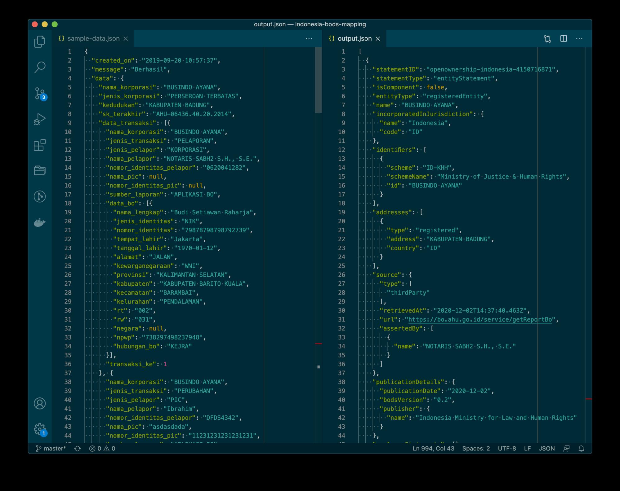 Screenshot of Indonesia's example JSON alongside BODS JSON code output