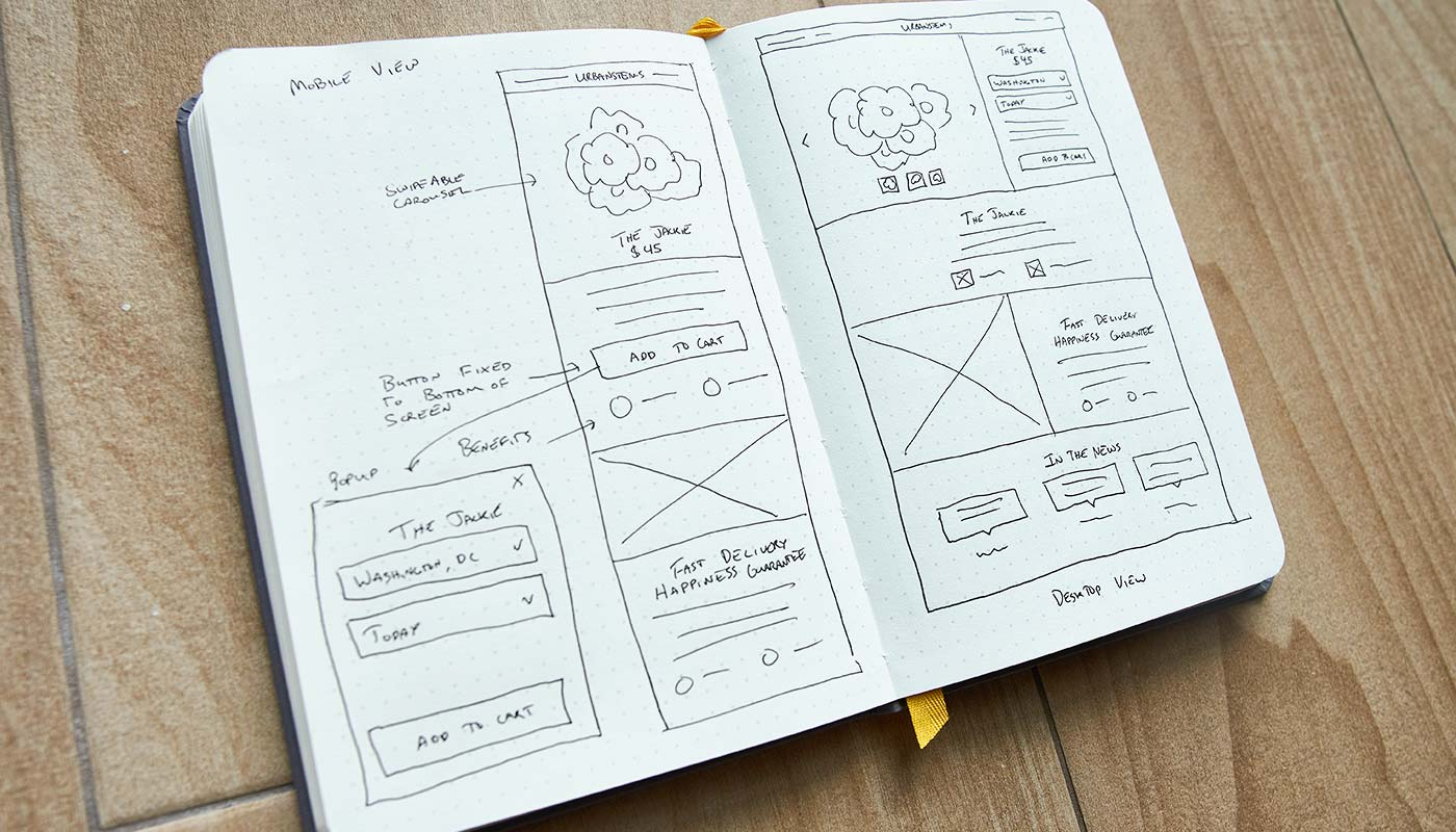 UrbanStems Product Page Sketch