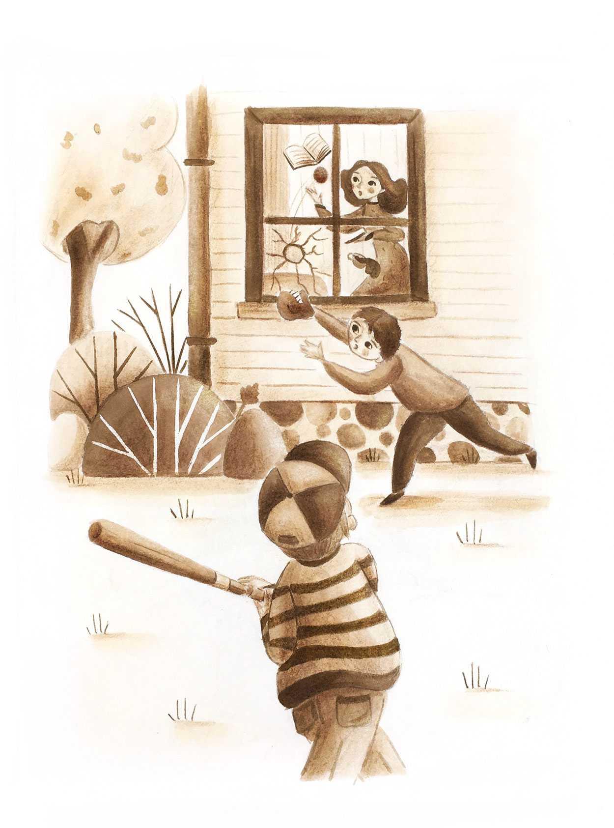 Kids playing baseball and breaking a window