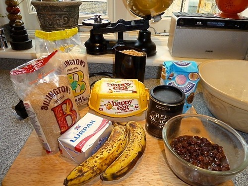Find the ingredients for coffee banana bread