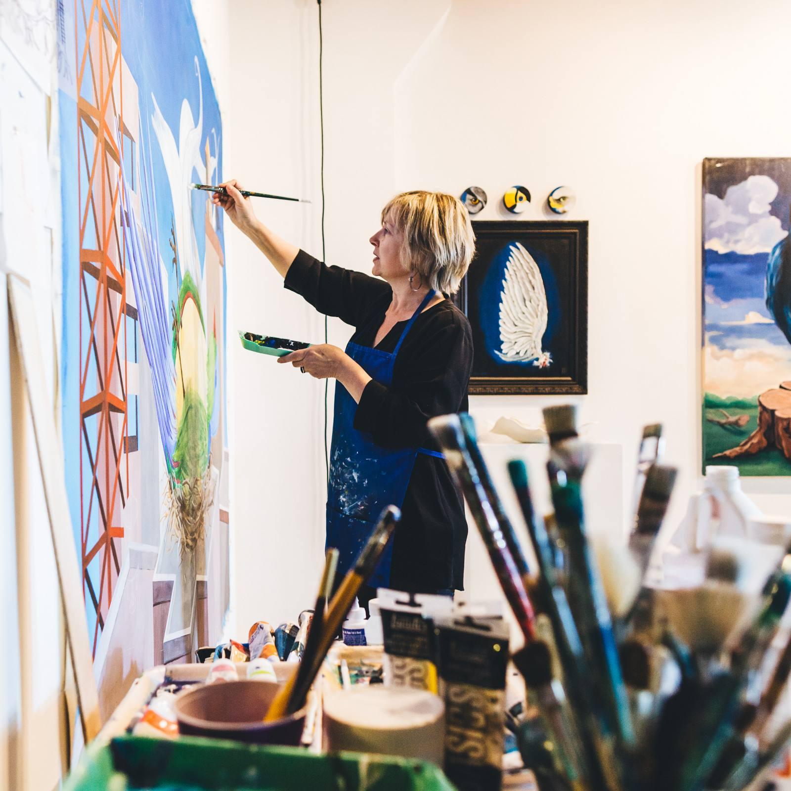 Liliana finishing part of an installation piece in her Boston studio.