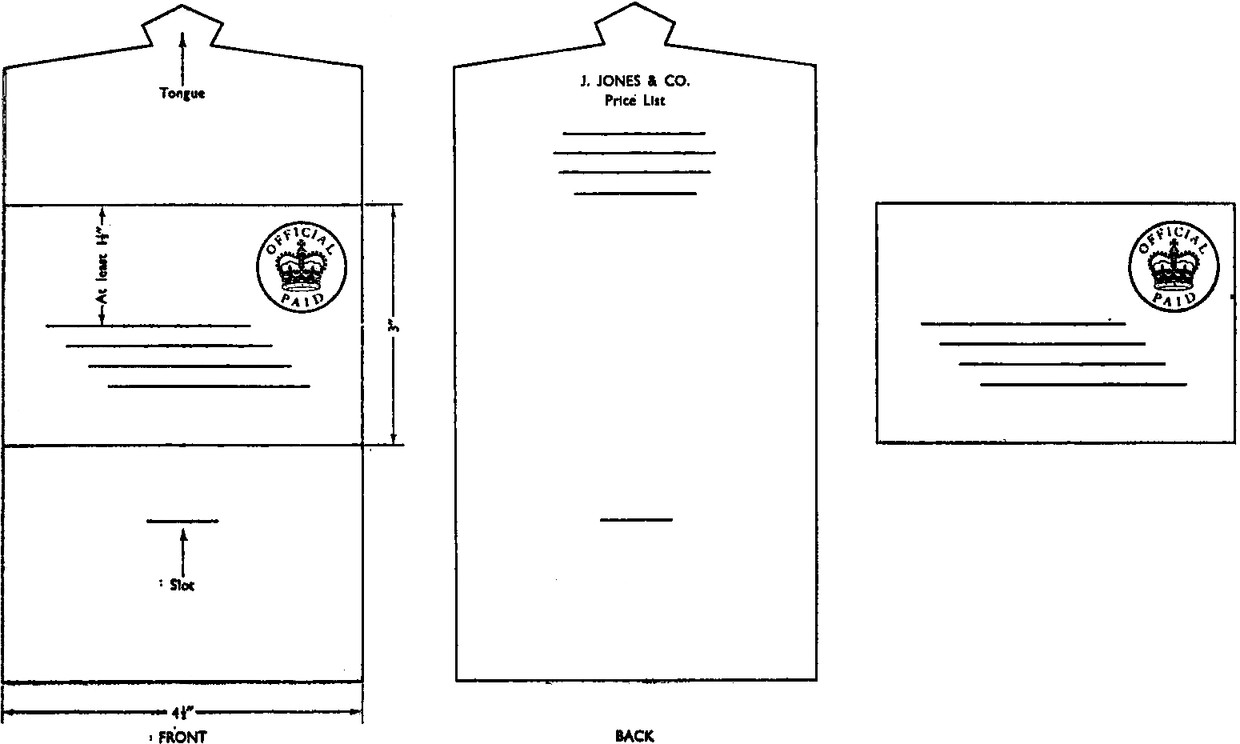 Flattened tongued envelope schematic. Front is 4, 1/2 inches in width. Top has tongue that goes into a slot at the bottom. Middle had main face of folder is below the first fold and has Official paid royal mail stamp with space for address, at least 1 1/2 inches below the top of the face. Back face has J. Jones CO. Price List and a space for extra words.