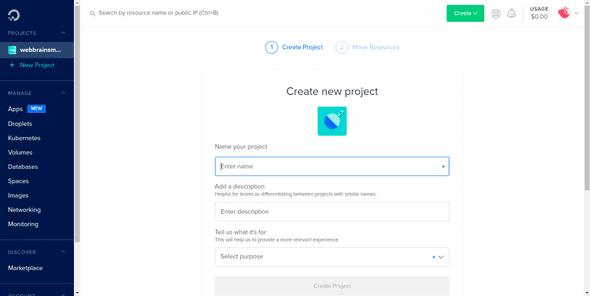 DigitalOcean New Project