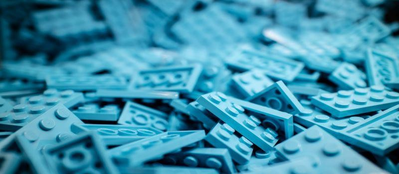 pile of blue lego bricks