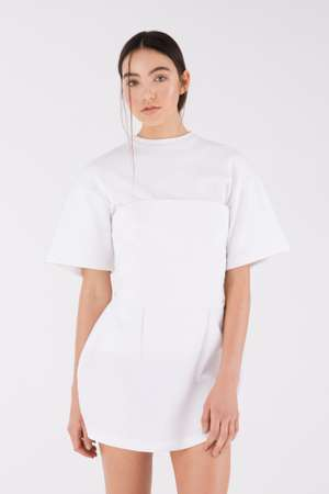 Cupped Bustier Dress, White