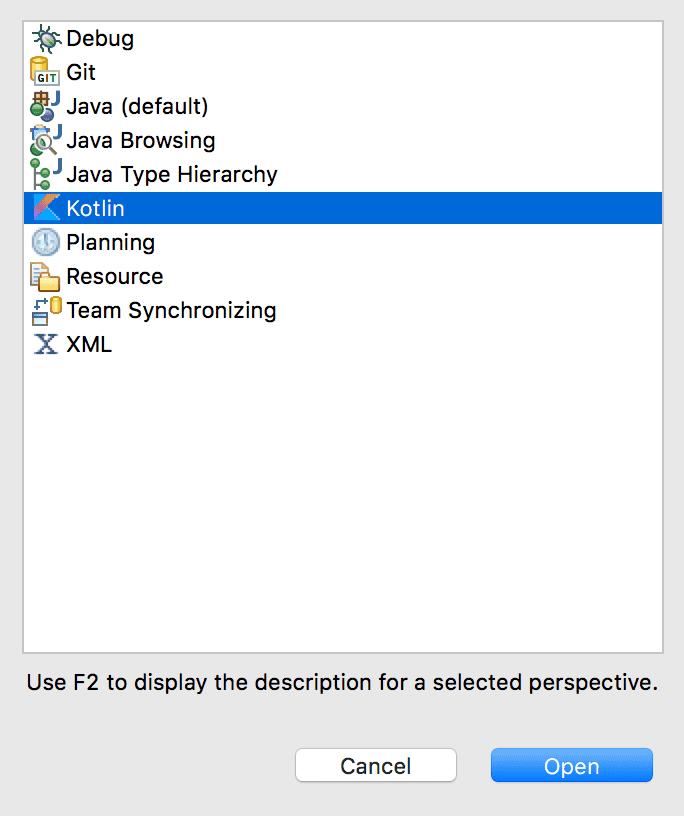 Eclipse Kotlin Perspective