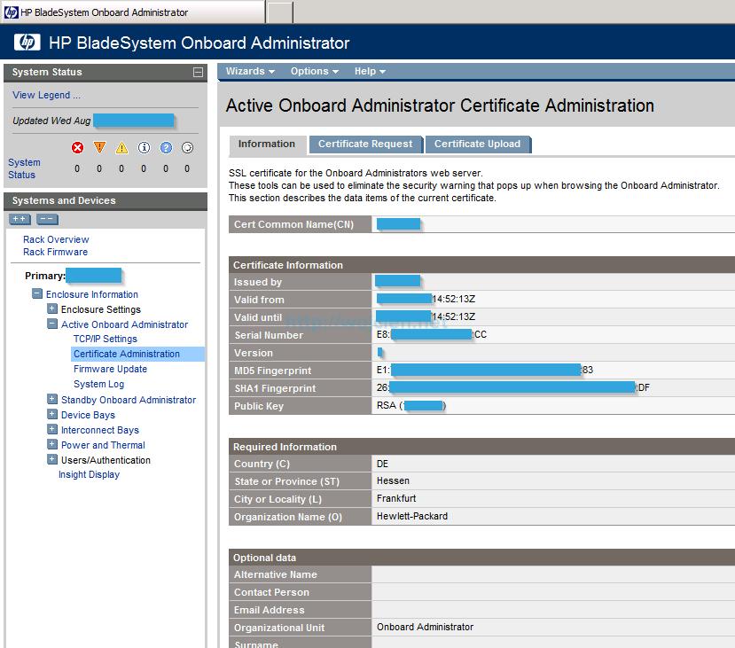 Installing signed SSL certificates in HP c7000 enclosure - 1