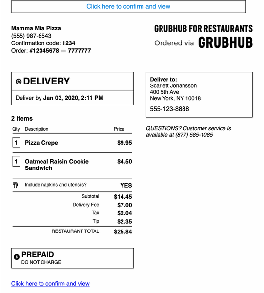 Example of an email received from Grubhub