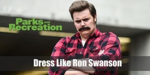 Ron Swanson regular outfits also embody his masculine no-nonsense personality as well. You'll see him mostly in slacks and a smart polo shirt.