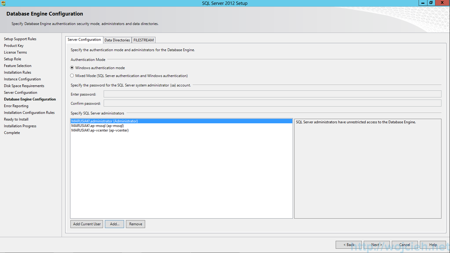 SQL Server 2012 SP1 - Database Engine Configuration