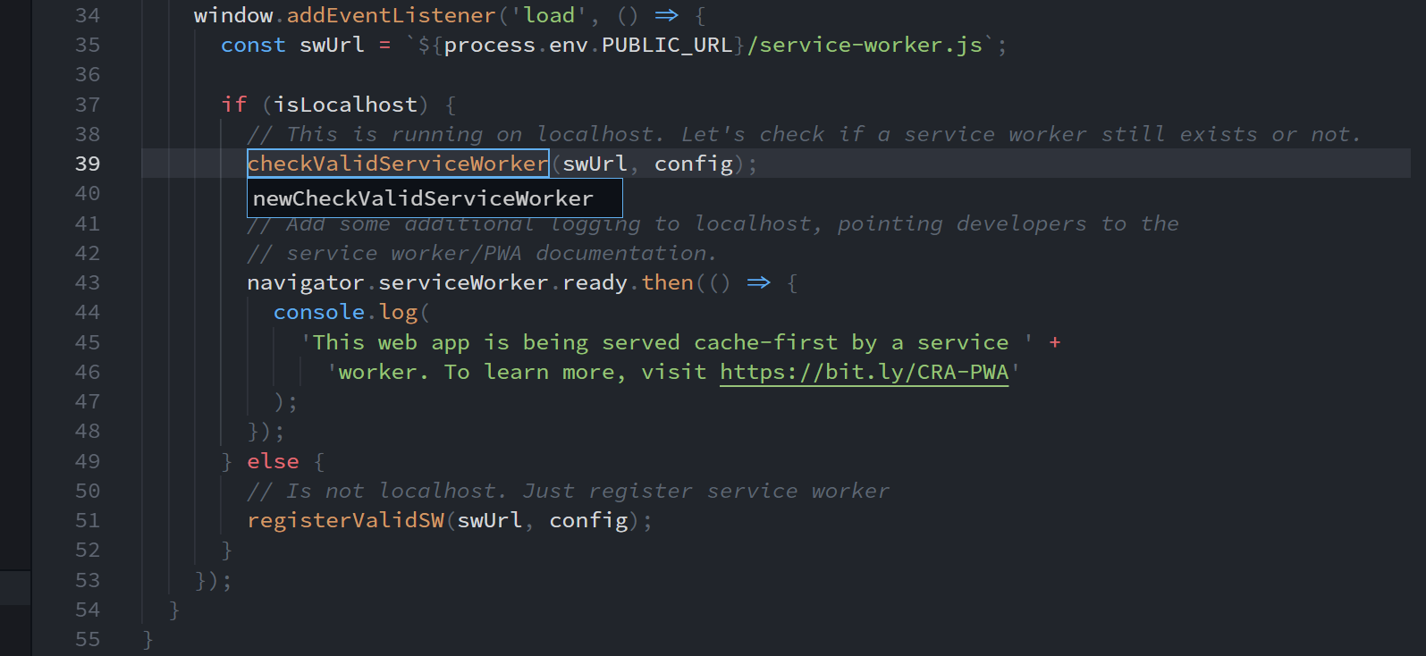 Changing the name of checkValidServiceWorker