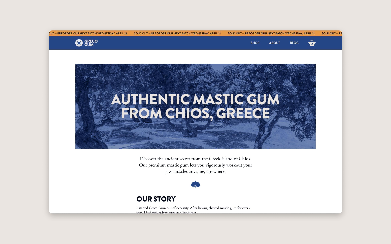 E-commerce website design for Greco Gum, natural health brand