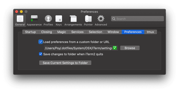 Save iTerm2 Settings