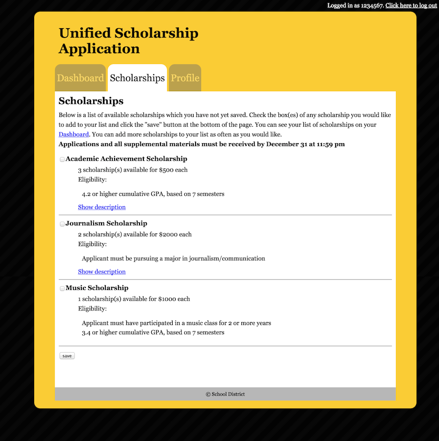 A list of available scholarships with descriptions, availability, eligibility, and tools to add the scholarships to the user's list of applications.