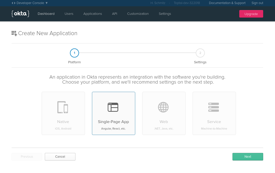 Register a new single-page app with Okta