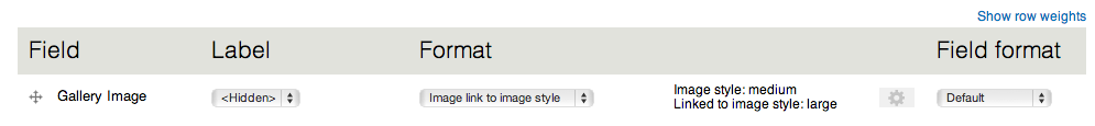 The Display page settings for Image formatter link to image style