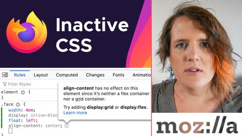 Firefox Developer Tools shows helpful information about inactive CSS