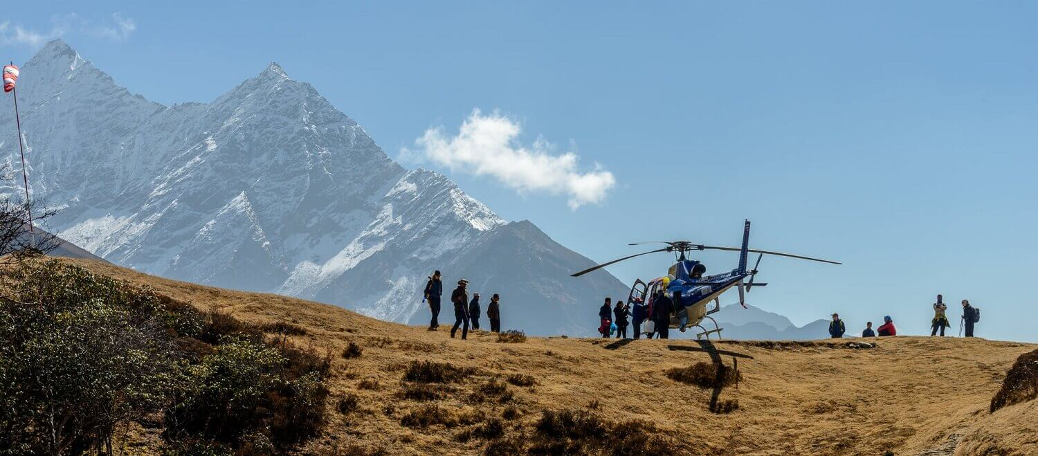Rescue of Trekkers from Everest Base Camp in Helicopter