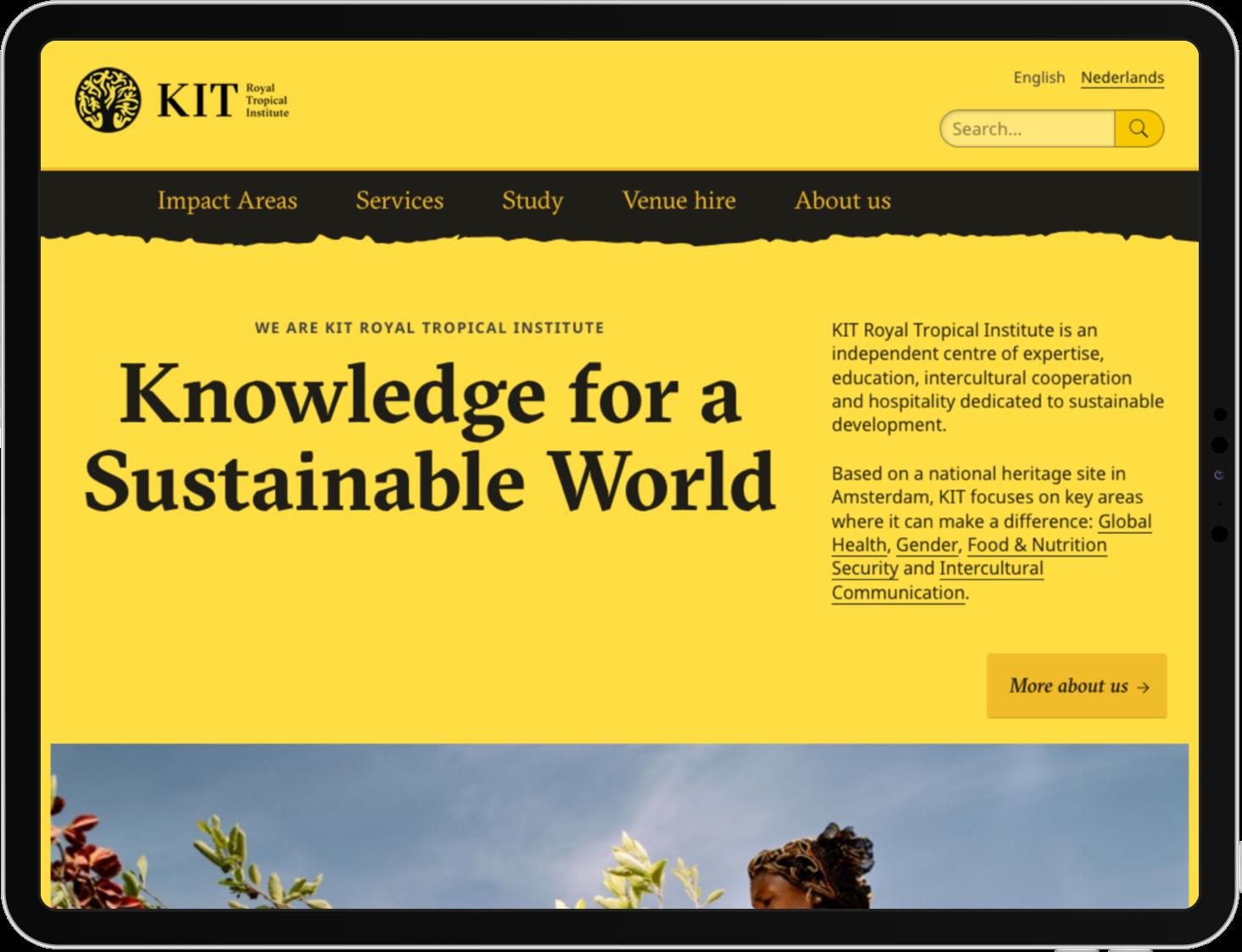 De homepage van KIT op een iPad