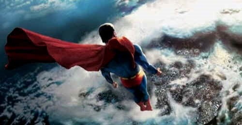 Superman above the earth